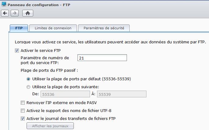 Panneau de configuration du FTP pour activer le service FTP