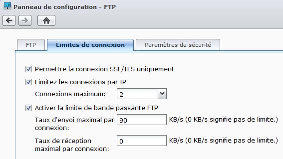 Limites de connexion du FTP