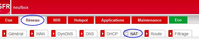 Onglet réseau puis onglet NAT issu de la box SFR