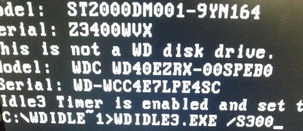 Réglage avec WDIDLE3 pour changer le timer à 300 secondes