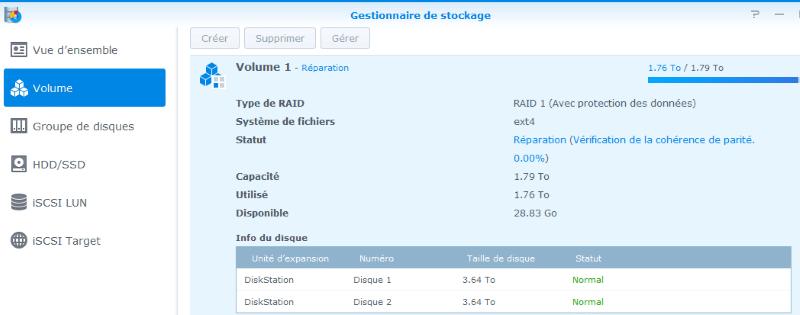 recopie des données sur le nouveau disque dur sous DSM