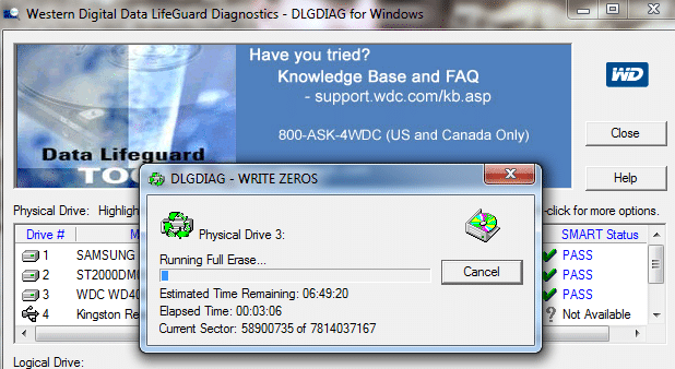 Test du disque avec Western digital Data LifeGuard Diagnostics