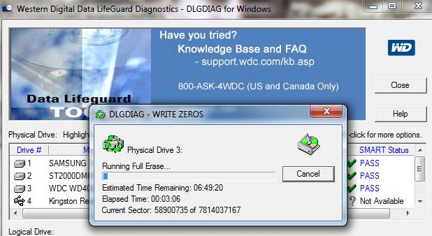 Test du disque avec Western digital Data LifeGuard Diagnostics