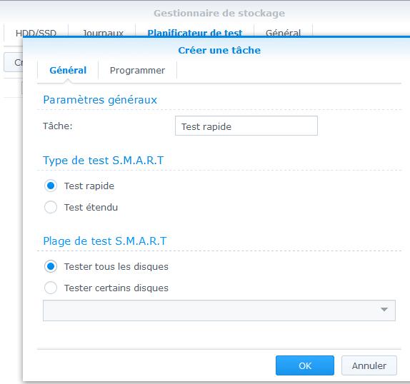 créer un test S.M.A.R.T rapide pour vérifier les disques