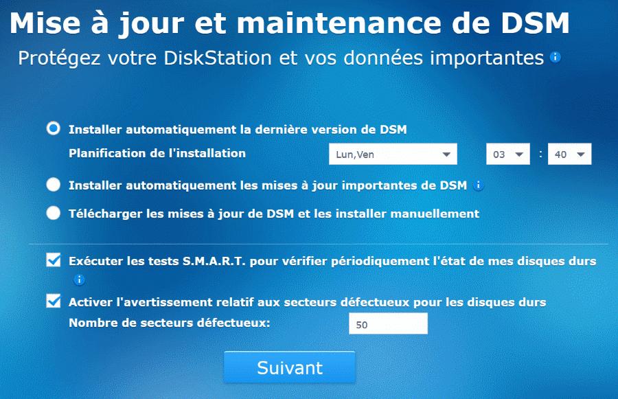 Mise à jour et maintenance de DSM
