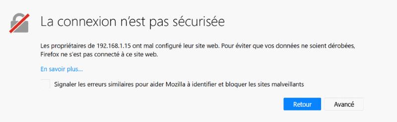 Connexion du navigateur https avec un certificat autosigné
