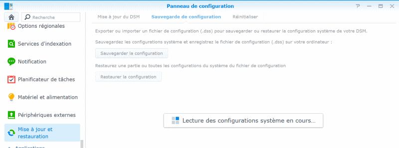 lecture des configurations système en cours