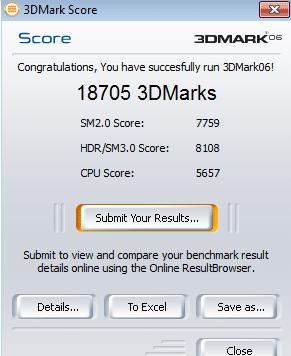 Résultat 3DMark 2006 GTX260+