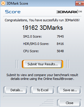 Résultat 3DMark 2006 GTX260+ overclockée