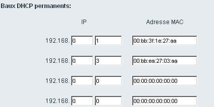 Spécifier des baux DCP permanents par rapport à une adresse MAC