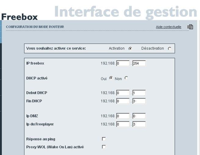 Activation du DHCP sur une FreeBox